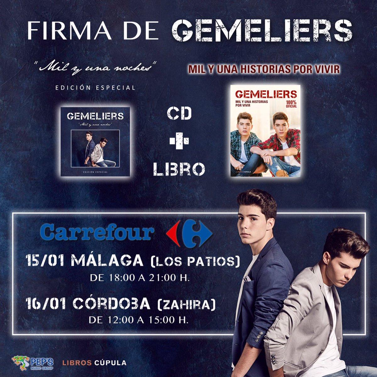 No te pierdas las próximas firmas de @GemeliersMusic. El 15/01 en #CarrefourLosPatios y el 16/01 en #CarrefourZahira https://t.co/1HiBV3BL0p