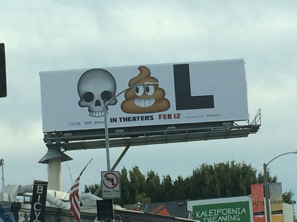 This idiotic/brilliant billboard is why I'm all in on the DEADPOOL movie. I'm an easy lay. https://t.co/jSRorPvaCp