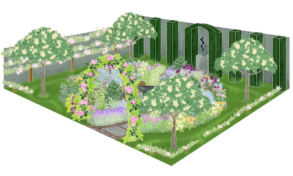 'A Modern Apothercary' designed by Jekka McVicar sponsored by St Johns Hospice #rhschelsea https://t.co/6KaxZiXMfF