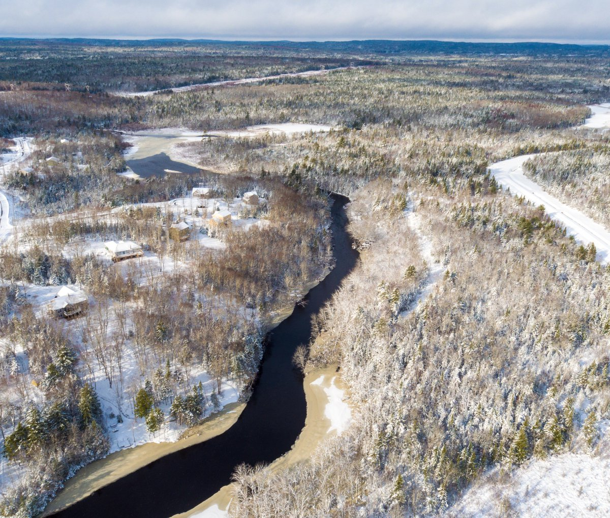 A few more wintery aerials of McCabe Lake area from @flitelab