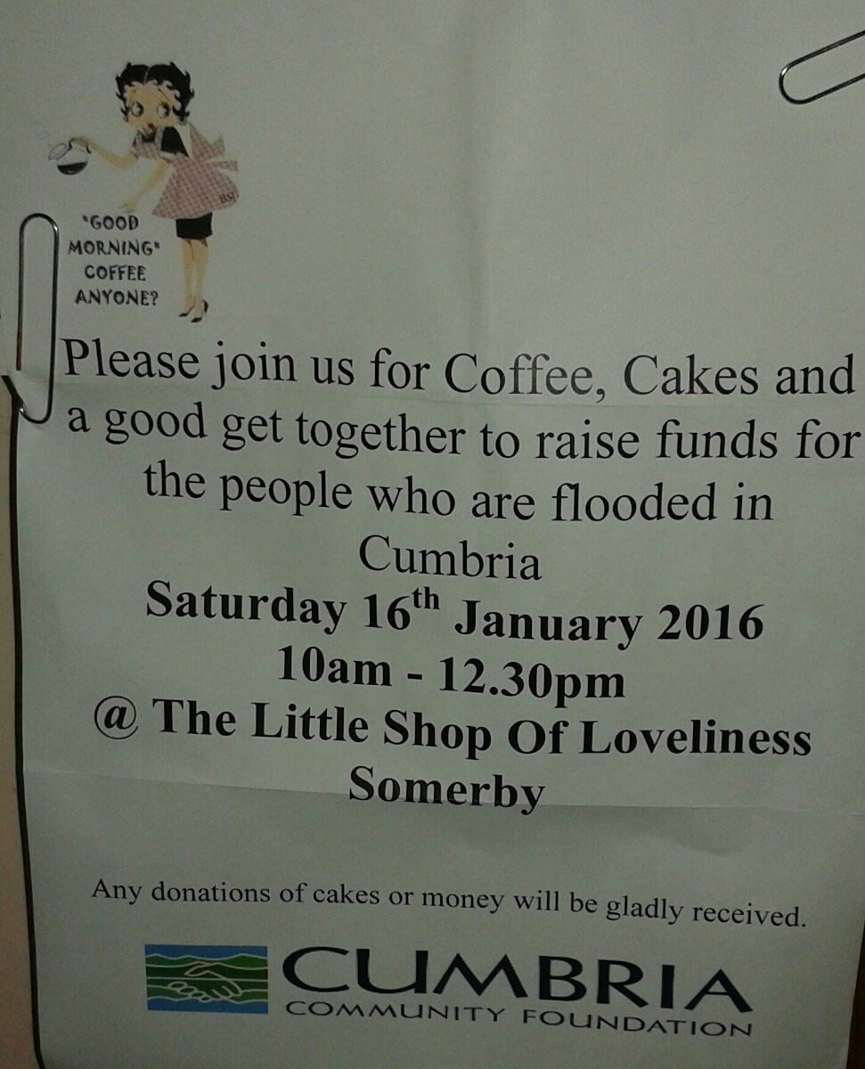 This Saturday  #Cumbria  #floods Our village shop is having a coffee morning  #leicestershire https://t.co/3c18qqA0lm