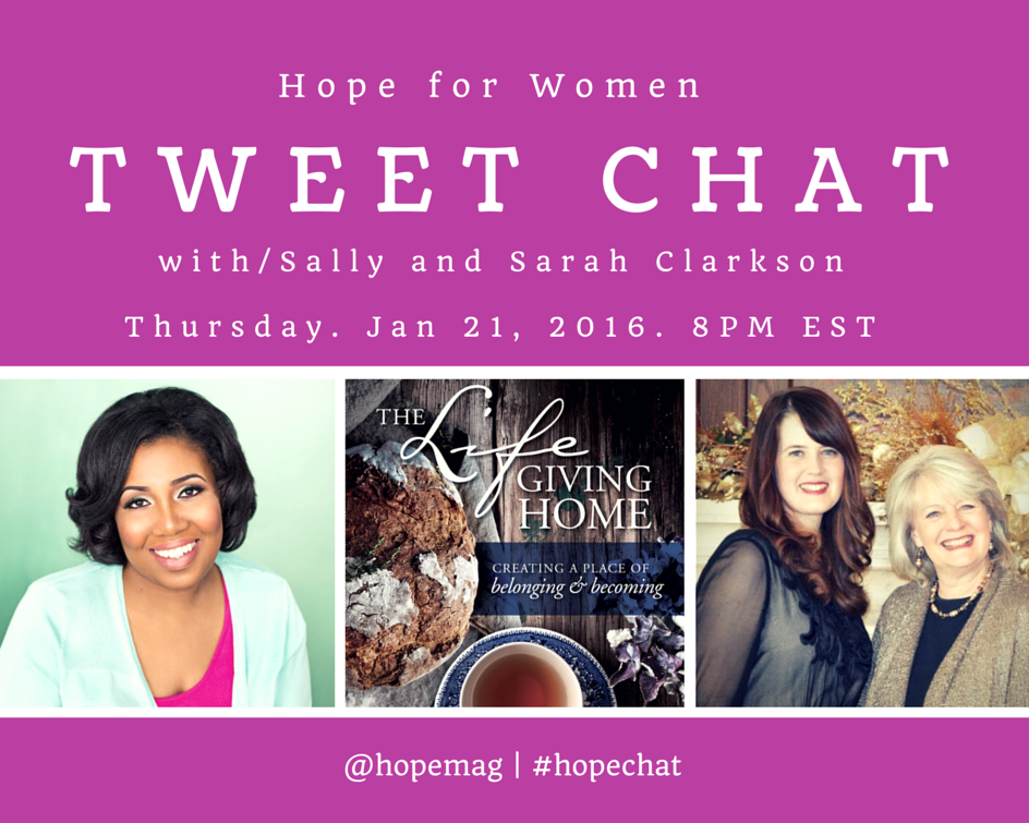 Mark your calendar for this #HopeChat on 1/21 with @Sally_Clarkson & Sarah Clarkson (@thoroughlyalive) @hopemag https://t.co/9ETZJKEUIZ