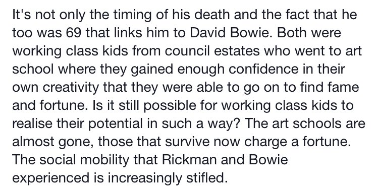 Billy Bragg on #AlanRickman #DavidBowie. An important note with public education threatened again in many countries. https://t.co/G4LS81Rqvy