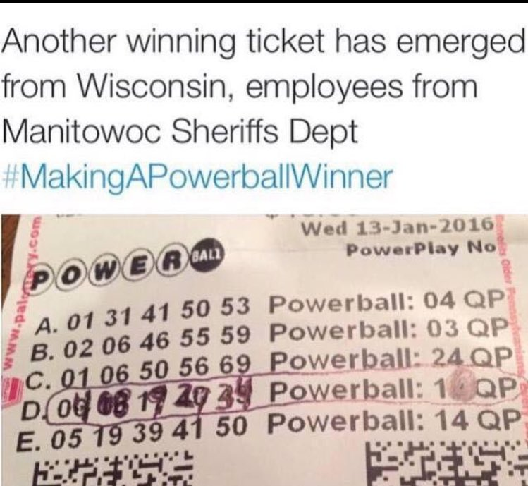 Congrats to the Manitowoc Co. guys who went in on the #Powerball pool! You guys deserve it!! https://t.co/IcZJ8EmNuQ