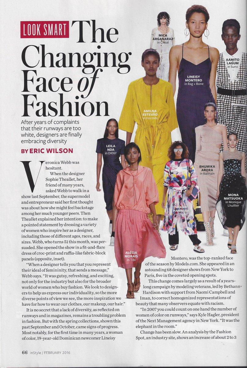 Thank you @ericwilsonsays & @InStyle Great Article !  #Diversity #Fashion #Future @veronicawebb @sophietheallet https://t.co/ADsoEOHFJz