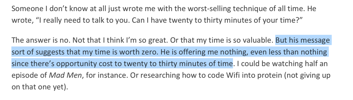 """I think a few CEO's I know can identify with this gem from @jaltucher RE """"picking brains"""" and """"coffees"""" https://t.co/5bOasvGClD"""