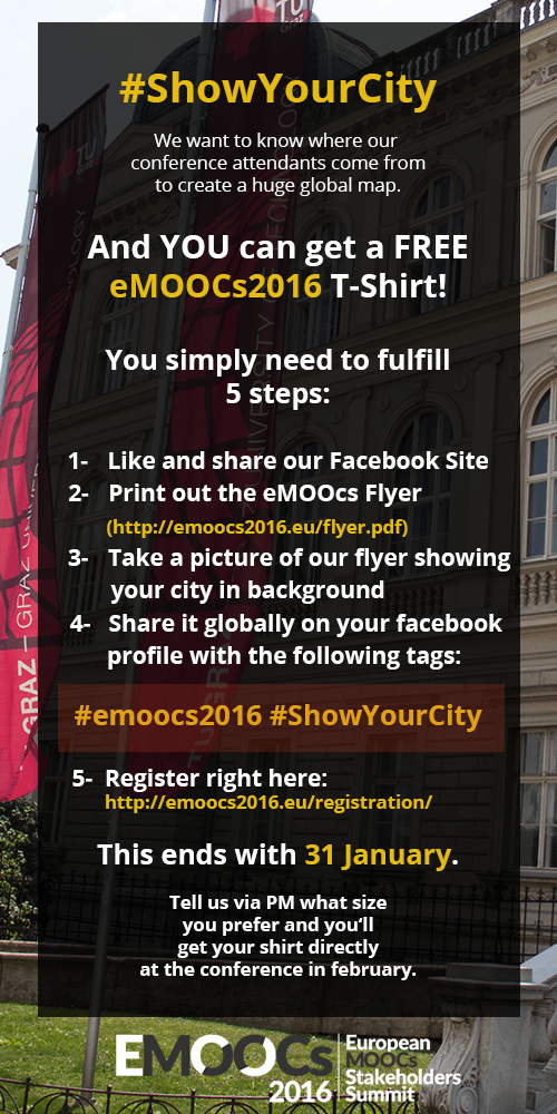 [eMOOCs] Get your conference T-shirt for free #emoocs #emoocs2016 #tugraz https://t.co/spQ3Keu5Fs https://t.co/DQyP1Xcnj6