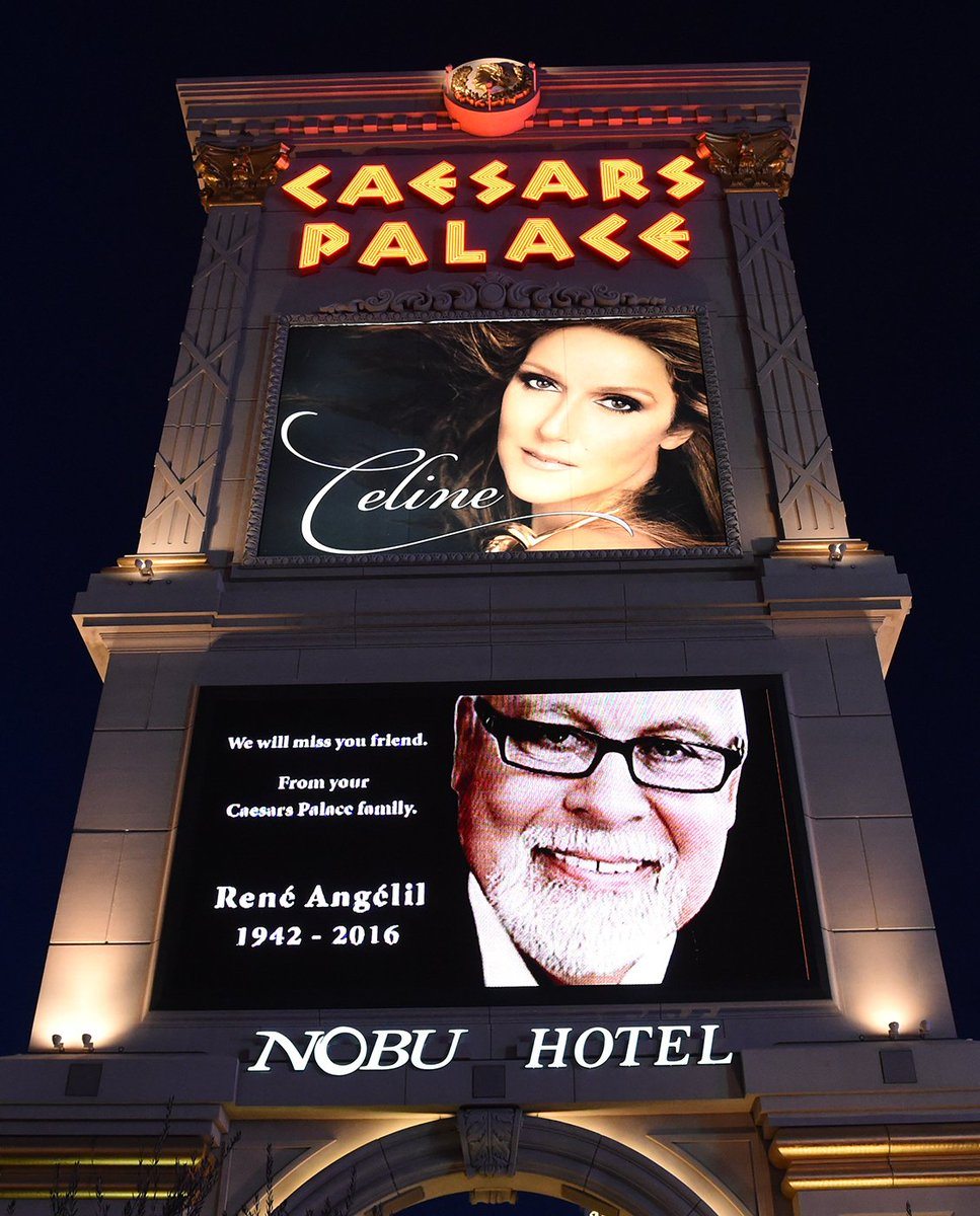 Tribute images of Rene & Celine Dion on marquee @CaesarsPalace tonight. Thanks LasVegas News Bureau https://t.co/1wU3cvsm5S