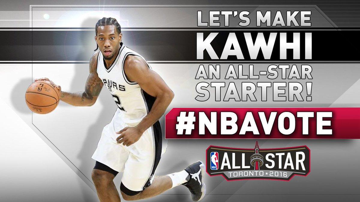 Let's make Kawhi an NBA All-Star Game starter! RETWEET with #NBAvote Kawhi Leonard to vote. #GoSpursGo #KawhiNot https://t.co/kN1MGFsTB9