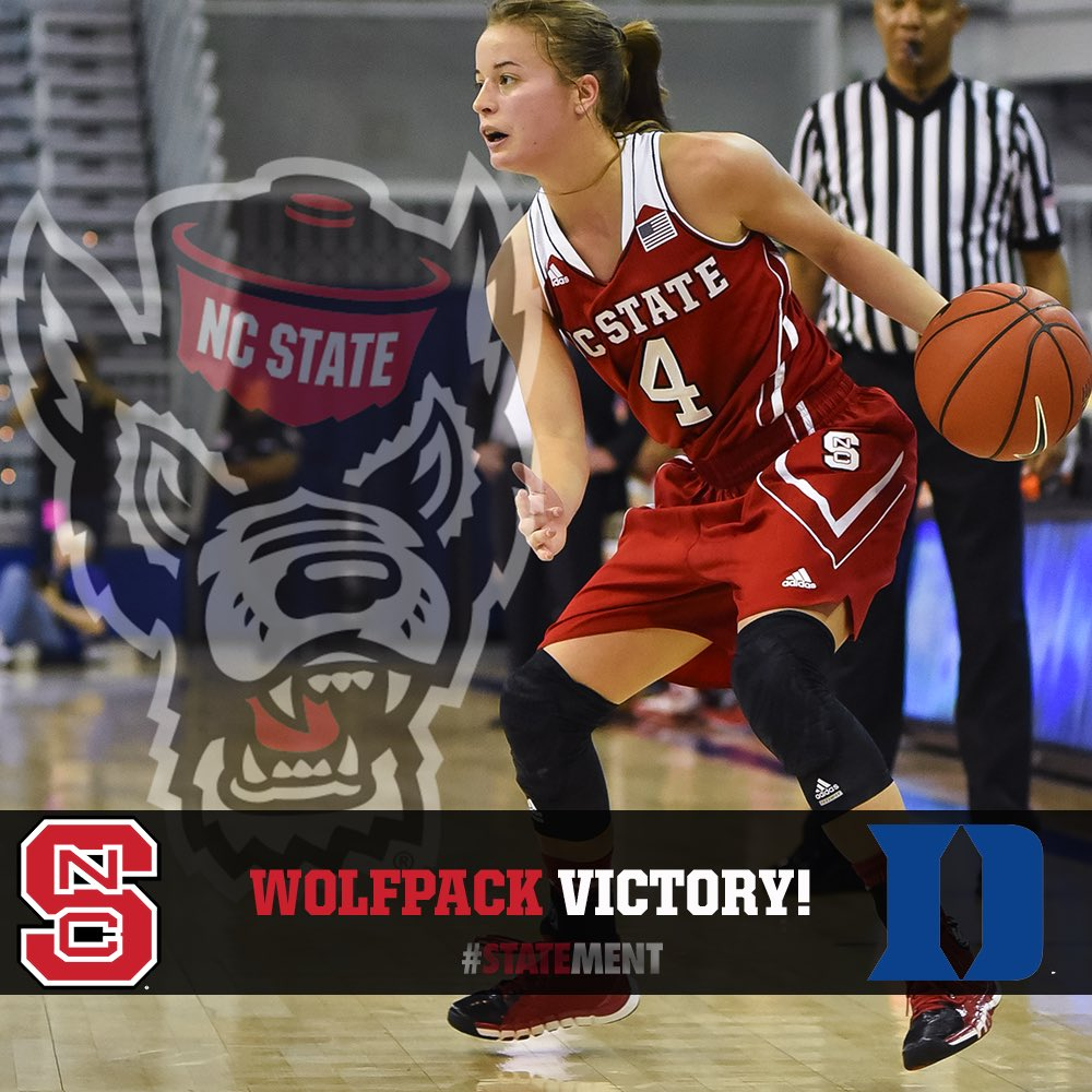 FOUR IN A ROW! NC State wins at No. 22 Duke, 65-62. #STATEment #GoPack #ncaaw https://t.co/h4M1HjVUfh