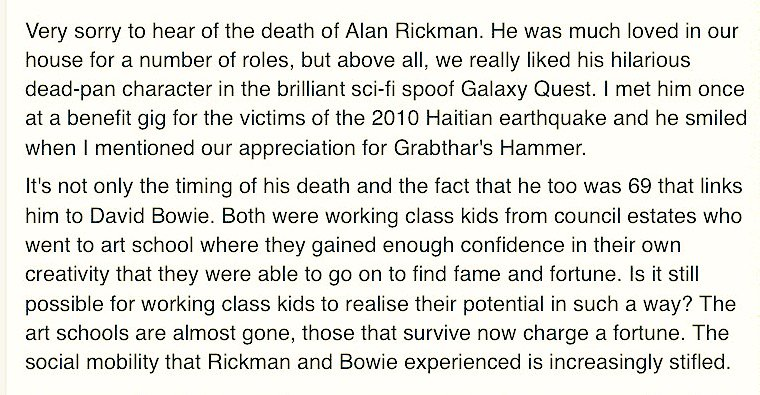 Good morning! @billybragg's tribute to David Bowie & Alan Rickman makes a pretty good case for supporting our work: https://t.co/JkE2duNF1j