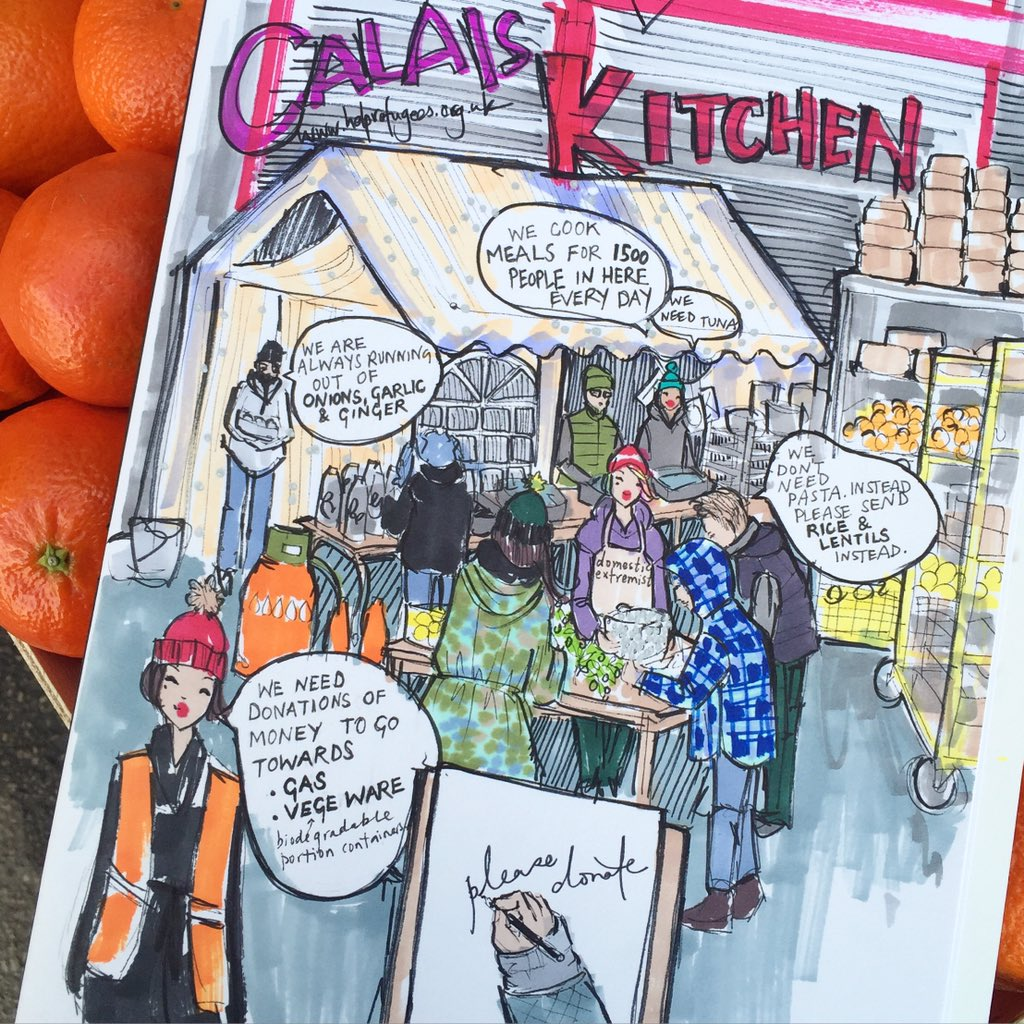A new illustration from the Calais Kitchen #calaisjungle https://t.co/r94JW7TXWS