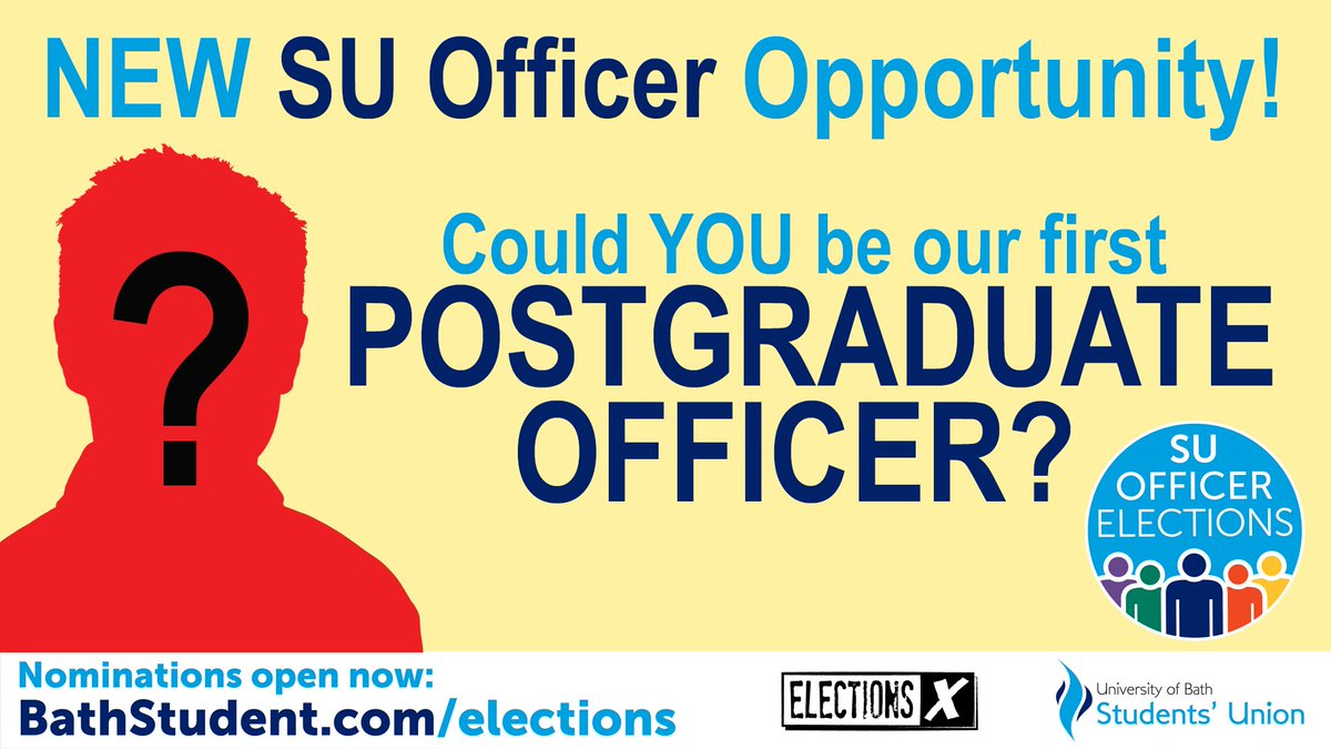 Big SU Officer News! For the very first time, Bath SU will be electing a full time Postgraduate Officer! @BathPGA https://t.co/A7kDd6YpNk