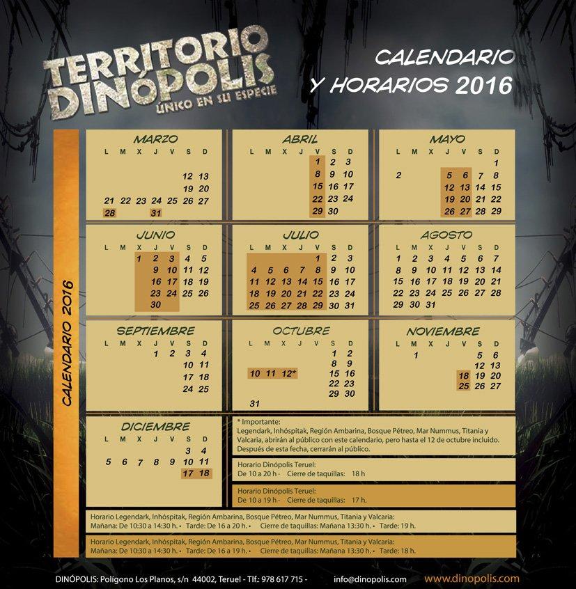 ¿Planificando ya vuestra visita a #TerritorioDinópolis? Pues echadle un vistazo a nuestro #CalendarioDeApertura2016 https://t.co/3ru33Z04R3