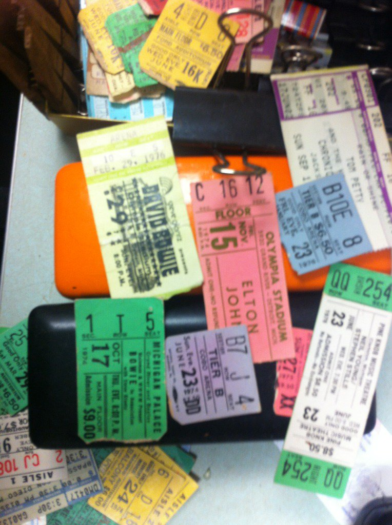 Found 3 Bowie ticket stubs, most paid $9, two had name printed on em, typical Bowie https://t.co/DPTfyIIzc9