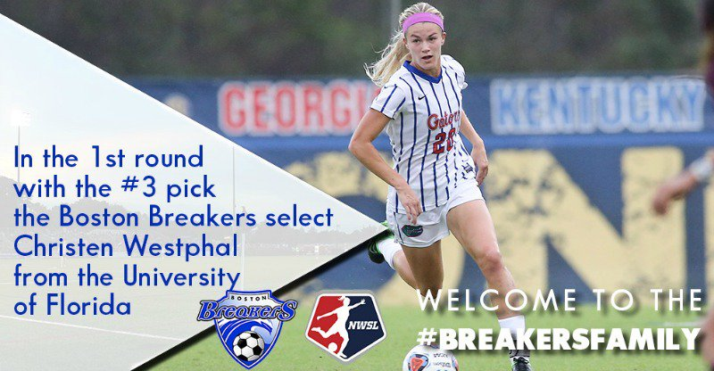 With the No. 3 pick in the 2016 #NWSLDraft, the Breakers select Florida defender @Cwestphal20. #BreakersFamily https://t.co/pW6Gt4bJ9Q