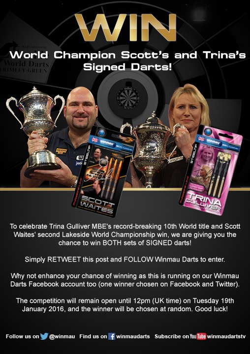 Win World Champion @ScottWaites180's and @trinagoldengirl's Signed Darts! https://t.co/pvQAGOsKYf