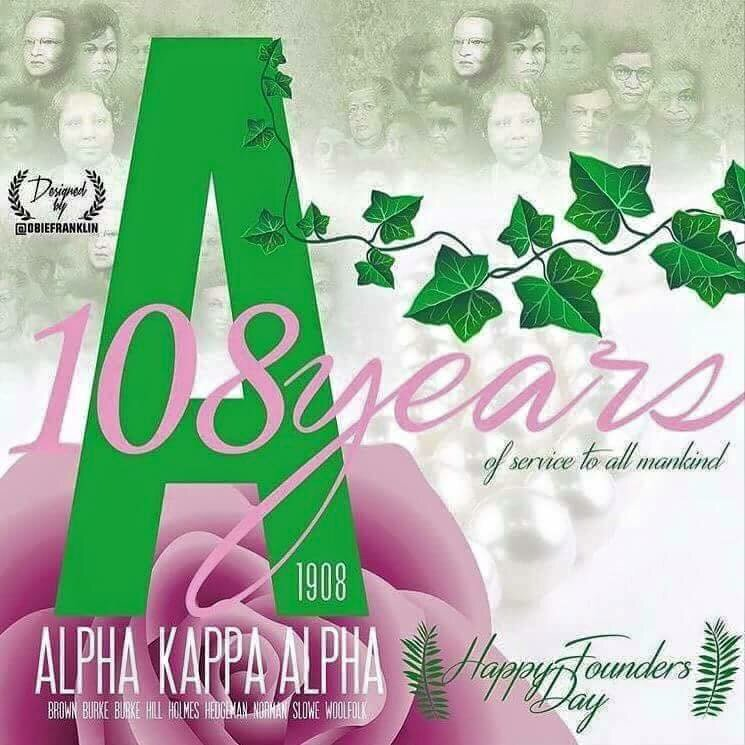 Happy Founders Day to my lovely Soror's of #AlphaKappaAlpha #SkeeWee #1908 https://t.co/4Q6JR42uzm