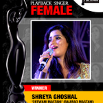 RT @priyagupta999: #Filmfare best playback female goes to my favourite @shreyaghoshal for #DeewaniMastani in #BajiraoMastani https://t.co/8…