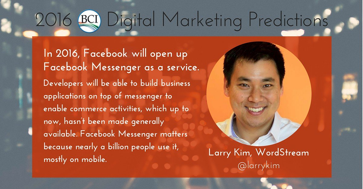 2016 Digital Marketing Prediction: @larrykim foresees FB Messenger ecomm +42 more forecasts https://t.co/zU2smiZsYn https://t.co/E4gz3YmXO9
