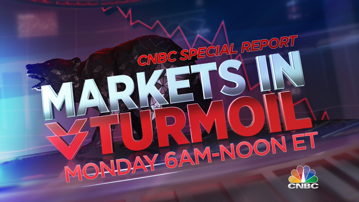 "Monday on @CNBC: A special report, ""Markets In Turmoil"" on the global market selloff & what it means for your money. https://t.co/uCh7sfnBFc"