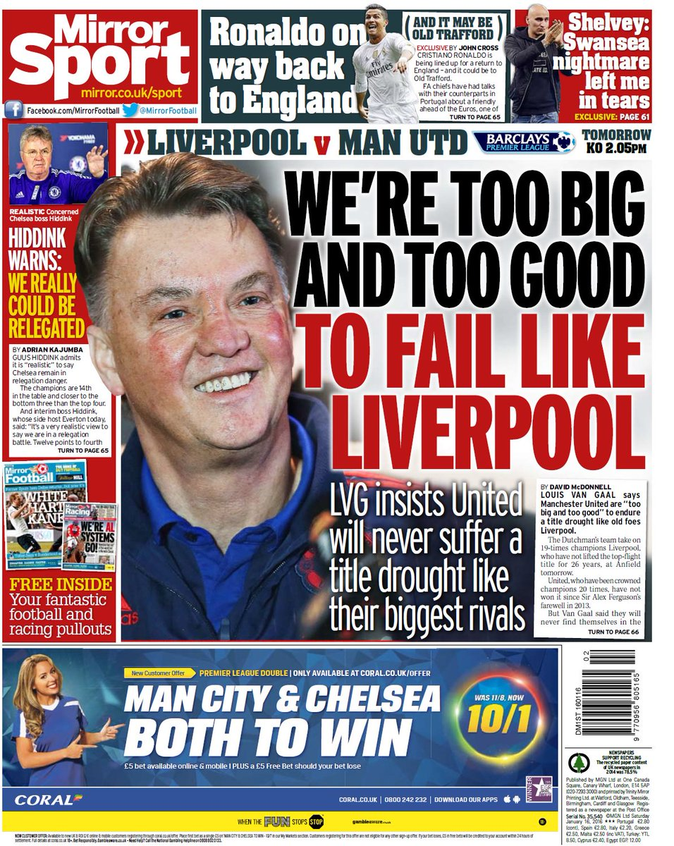 Saturday 39 s daily mirror back page we 39 re too big and too for Mirror liverpool