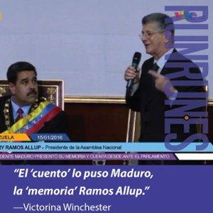 "Victorina Winchester: ""El 'cuento' lo puso Maduro, la 'memoria' Ramos Allup"". https://t.co/5ILnjVo0gK"
