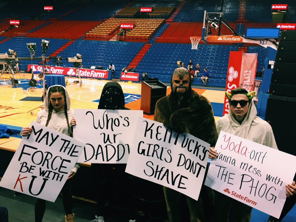 Bringing Star Wars to Allen Field House (they took our light sabers) @KUHoops @CollegeGameDay https://t.co/uQcnEbBjD7