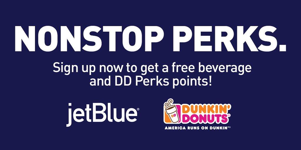 Get a free beverage + 100 DDperks bonus points! Just sign up w/promo code JETBLUE100.