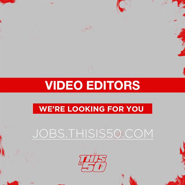 RT @thisis50: Got skills? We're looking for VIDEO EDITORS! Apply here:  https://t.co/0qjGU8kcid https://t.co/W5LjjwUxHt