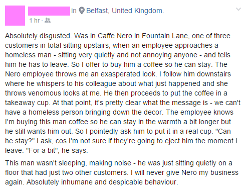 Friend of mine posted on FB about their experience today at a Caffé Nero in Belfast. I won't be going there anymore https://t.co/tNMX2r12Oj