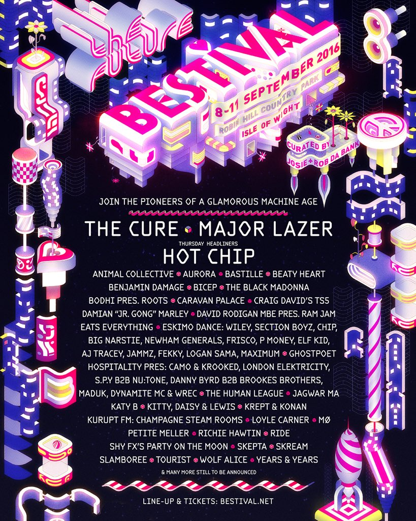 Join the pioneers of a glamorous machine age - first wave of #Bestival16 acts announced... https://t.co/rgcnAXQSAN