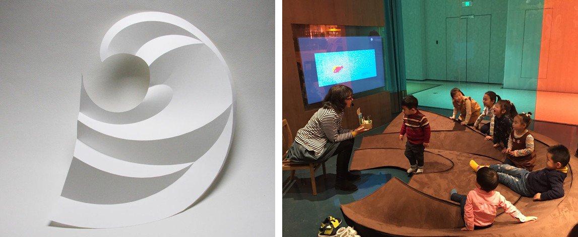 私がデザインした曲線折紙が、大きなスケールで実用化された例を1つ紹介できることになりました。  上海の高島屋の絵本屋にて、子どもたちが楽しく座って過ごせるオブジェ。使わないときは平らにして巻き取ることができます。 https://t.co/vVvEF9LrqY