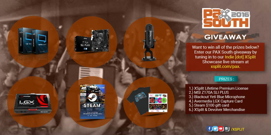 Our PAX South 2016 giveaway begins! Tune in to our Indie[dot]XSplit Showcase at https://t.co/FzOTDi92RY to win! RT! https://t.co/DeTaOEpqnv