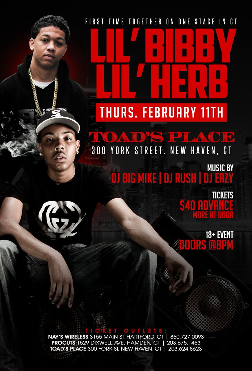 Thursday February 11th @gherbo @LilBibby_  Toads Place New Haven ct toads https://t.co/KottwzB3QX for tickets ! https://t.co/rj27xKw7aQ