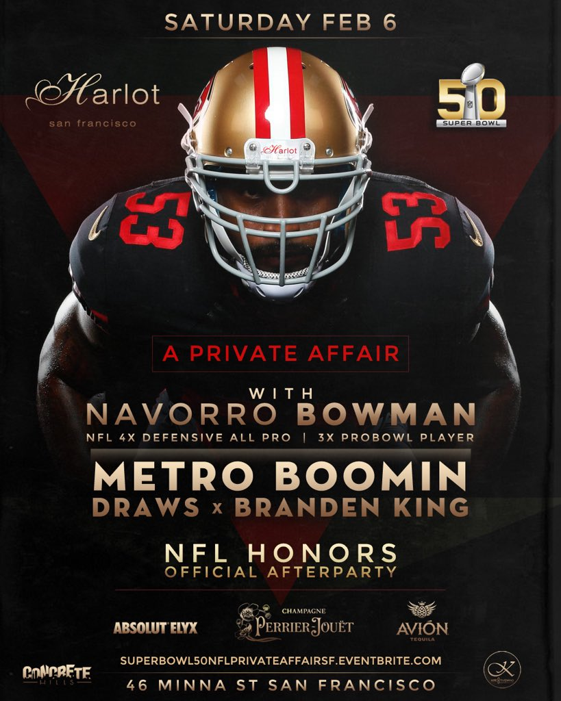 SATURDAY FEB.6th Join NFL All Pro @NBowman53 & @MetroBoomin For A Private Affair @HarlotSF https://t.co/fQTgVXBNlM https://t.co/IcGAKU1H8g