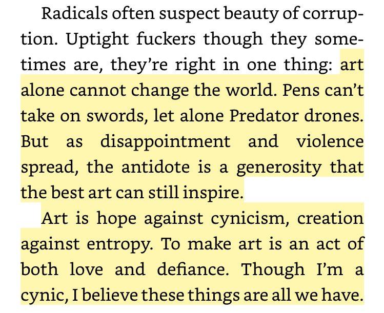 """Art is hope against cynicism, creation against entropy."" — @mollycrabapple https://t.co/GbtOaM6Ief"