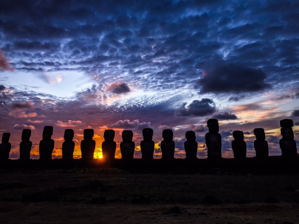 Back on mainland Chile after spending 4 days on Easter island. Here is an image I took of the 15 Moai at sunrise. https://t.co/Hj3ClDY5qw