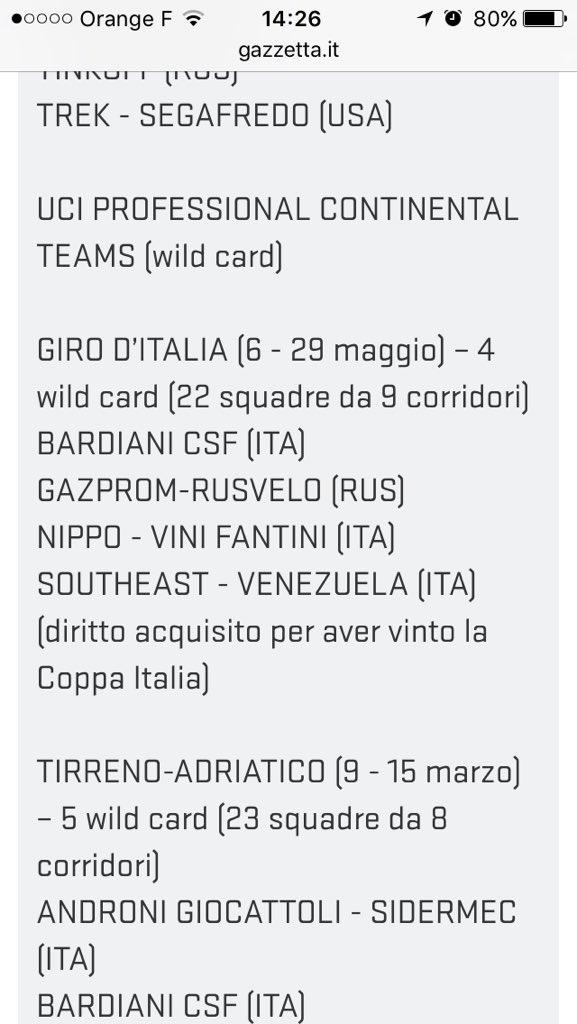 祝!! チームがジロデイタリアのワイルドカードを獲得しました! 熱い五月になりそうです! https://t.co/CCMf0Efh8F