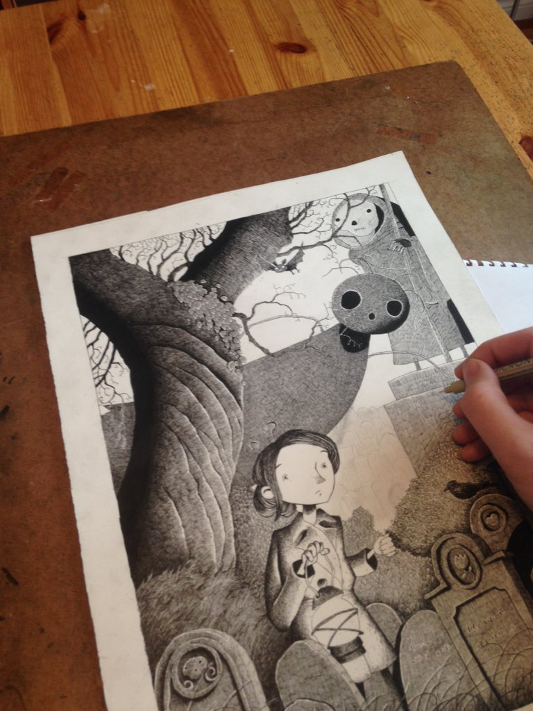 Trying to finish inks on this marrowbones illustration this morning. https://t.co/pPXtgxdhNw