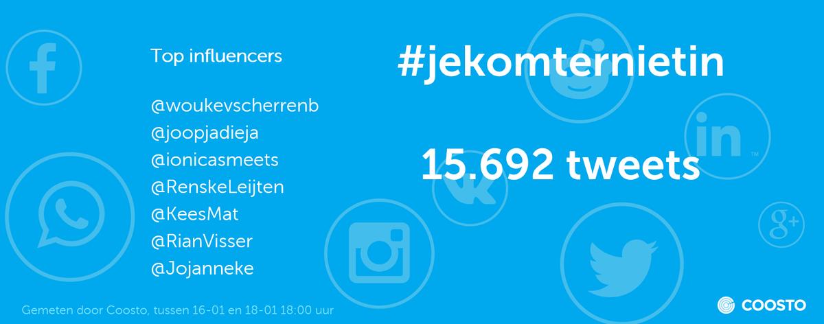 #jekomterniet is -dankzij @pilotwin en onderstaande top influencers- bijna 16.000 keer betwitterd. And counting... https://t.co/gXuKZngiNy