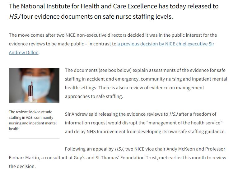"Breaking: NICE hands over #safestaffing evidence to HSJ in the ""public interest"" https://t.co/K4HjfbcoEo https://t.co/MEsZsOSd1a"