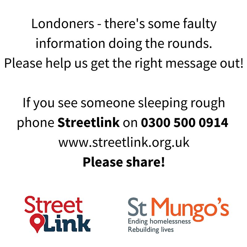 In this cold weather this is important information! @Tell_StreetLink if you see someone sleeping rough - please RT. https://t.co/rWxFWwT2Ul