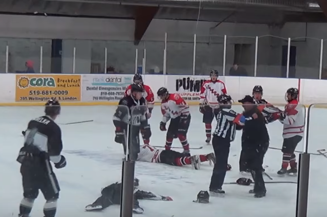 Linesman punches player, trainer tackles linesman after Junior A fight gets out of hand https://t.co/pneV7r9OsO https://t.co/cLVvrmVYt9