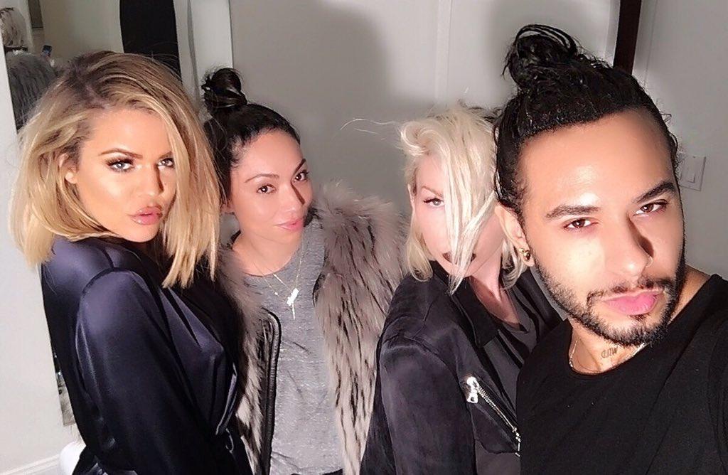 The glamour team!!!!! @monicarosestyle @joycebonelli @cesar4styles #KocktailsWithKhloe https://t.co/Uck1Y02ZLy