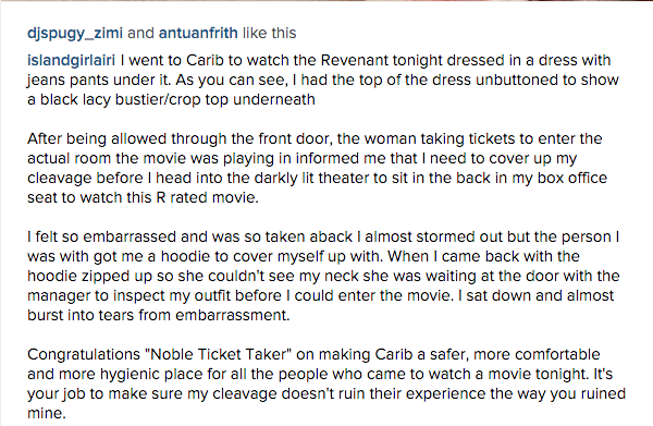 So @PalaceMovies your staff @ Carib forced a friend of mine to cover herself up when she went to watch #TheRevenant. https://t.co/MbmHCnUJay