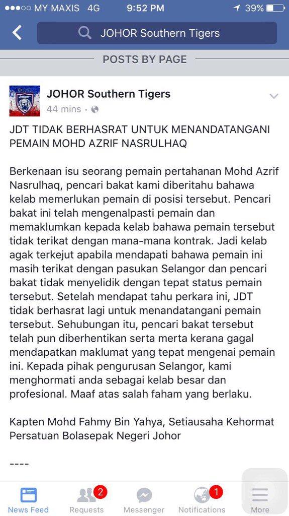 Alhamdulillah saya hargai sifat profesional TMJ & pengurusan JDT & harap isu ini berakhir dengan baik. https://t.co/i3rojBS6QC