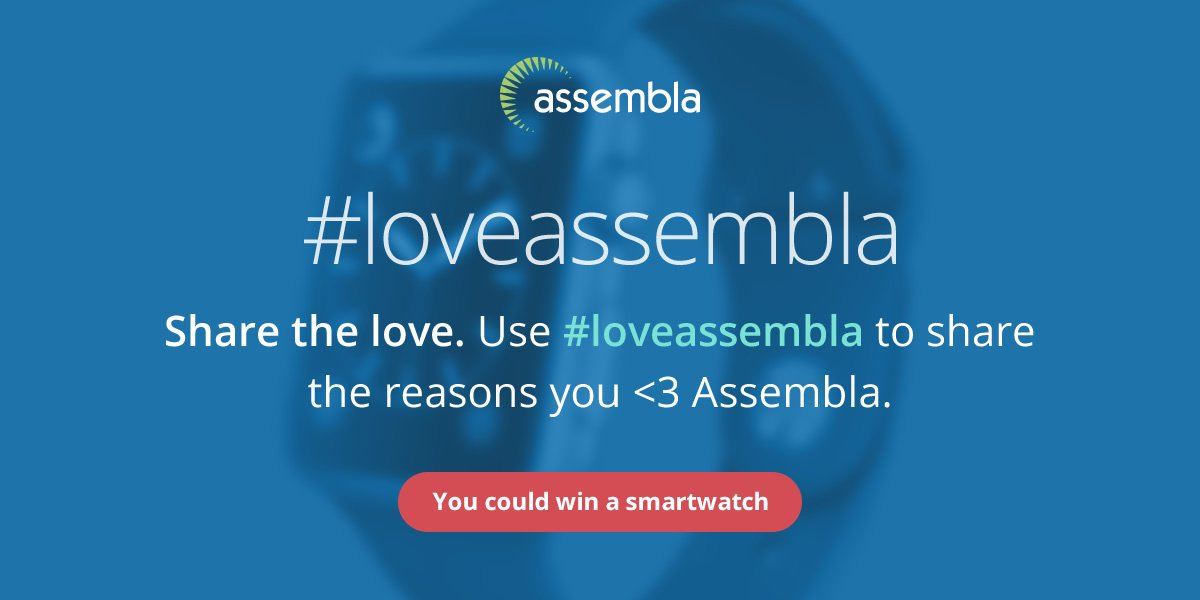 Announcing our new #contest. Tell us why you #loveassembla for a chance to win a smartwatch. https://t.co/hJlgIBrNSP https://t.co/WPHNGZhFwC