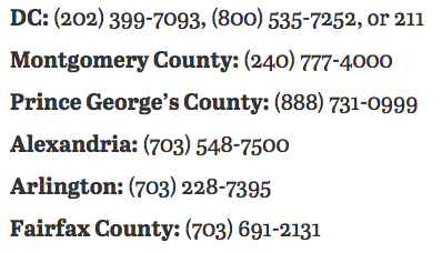 It is extremely cold in Washington tonight. If you see someone in need of shelter, call one of these numbers. https://t.co/338cCajSZj