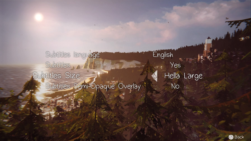 Whoever at @LifeIsStrange added this size option in the Subtitle menu, I love you. https://t.co/B8gfgb9x91